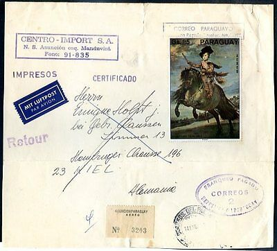 PARAGUAY - PAINTING (VELAZQUEZ) TO GERMANY Air Mail Cover (w/a cut on the top)