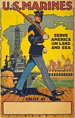 WB29 Vintage WW2 READY Join U.S Marines American War Poster Re-Print A1//A2//A3//A4