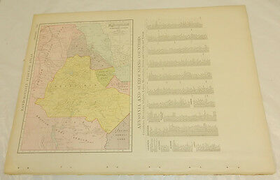"1908 Rand McNally MAP of ABYSSINIA, SOMALI, ERITREA/Large 14x20.5""/with Index"