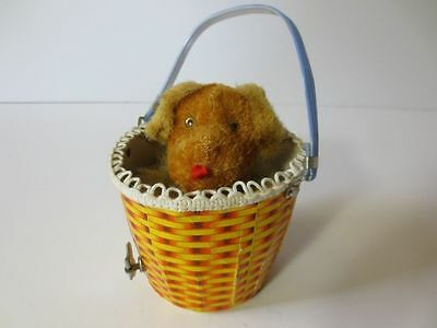 Wind Up Dog In Baskett Made in Japan Pop Up Vintage CUTE Antique WORKING