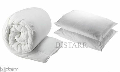 Duvet And 2 Pillows, Single Double King Super King 4.5, 10.5, 13.5, 15 Tog Quilt