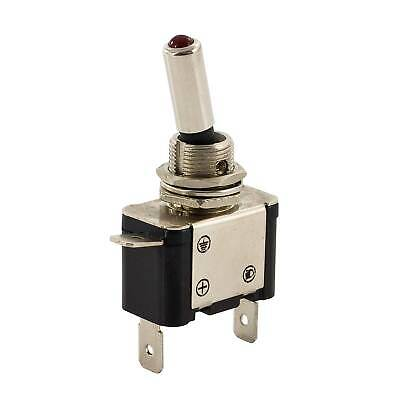 Heavy Duty 12v 25A (amp) On/Off Toggle Switch - Red LED - Spade Terminals