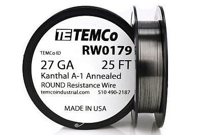 TEMCo Kanthal A1 wire 27 Gauge 25 Ft Resistance AWG A-1 ga