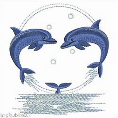 DOLPHIN PALS SET OF 2 HAND TOWELS EMBROIDERED NEW DESIG