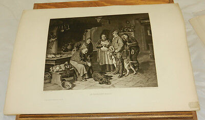 1885 Antique Print/AN EXCELLENT ROAST (HUNTERS with WILD PIG)