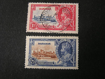 *BAHAMAS, SCOTT # 92/93(2), 11/2p+21/2p. VALUES 1935 SILVER JUBILEE ISSUE USED