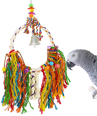 1786 Medium Fuzz Rope Ring Bird Toy parrot cage toys cages African grey amazon