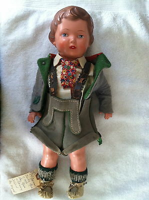 "Vintage 1940-1950 German 14"" Celluloid Original Turtle Mark Boy in Lederhosen"