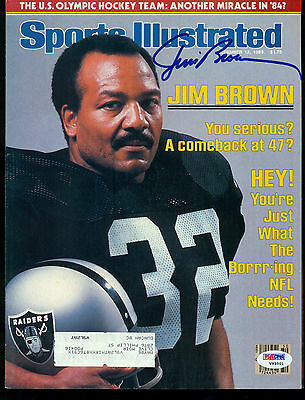 JIM BROWN AUTOGRAPHED SIGNED AUTO 1983 Sports Illustrated RAIDERS BROWNS PSA DNA