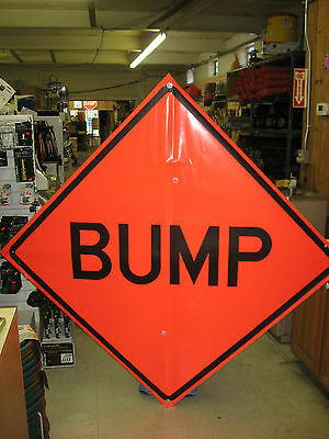 "Bump  Fluorescent Vinyl With Ribs Road Sign 48"" X 48"""