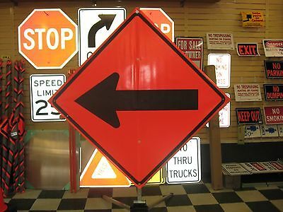 "Direction Arrow Fluorescent Vinyl With Ribs Road Sign 48"" X 48"""