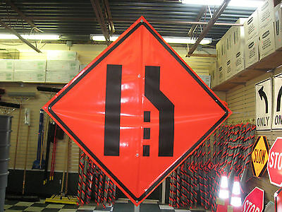 "Merge Left Symbol Fluorescent Vinyl With Ribs 48""x48"" Roll Up Construction Sign"