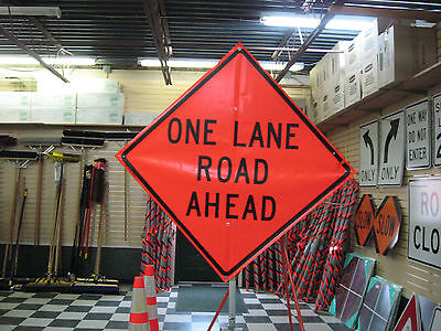 "One Lane Road Ahead Fluorescent Vinyl With Ribs Road Sign 48"" X 48"""