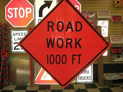 "Road Work 1000 ft Fluorescent Vinyl With Ribs Road Sign 48"" X 48"""