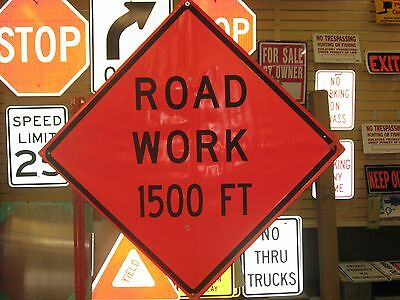 "Road Work 1500 ft Fluorescent Vinyl With Ribs Road Sign 48"" X 48"""