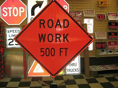 "Road Work 500 ft Fluorescent Vinyl With Ribs Road Sign 48"" X 48"""