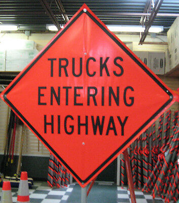 "Trucks Entering Highway Sign Fluorescent Vinyl With Ribs 48""x48"" Roll Up Sign"
