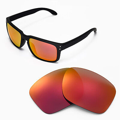 New Walleva Fire Red Replacement Lenses For Oakley Holbrook Sunglasses