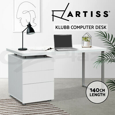 Artiss Office Computer Desk Table Home Metal Student Study Drawer Cabinet White