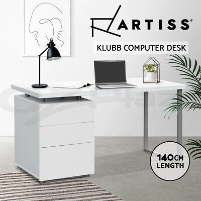 Office Computer Desk Table Home Metal Student Study 3 Drawer Cabinet White