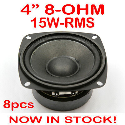 "8x 4"" 15WRMS PA DJ Speaker Subwoofer Woofer Sub Driver 4 Inch 8 Ohms Quality"