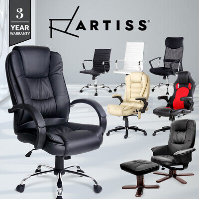Artiss PU Leather Office Mesh Chair Computer Desk Seating Executive Racer Lounge