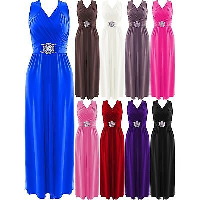 Womens Cocktail Buckle Plus Big Size Maxi Dress Ladies Wrapover Evening Dresses