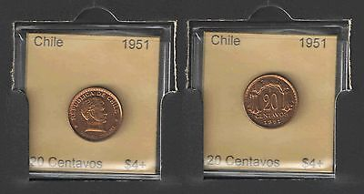 1951 CHILE 20 CENTAVOS UNCIRCULATED Cats $4+   NICE COIN !