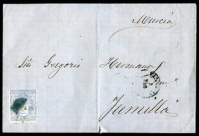 SPAIN VALENCIA TO JUMILLA Cover 1871 (w/a little cut on the bottom)