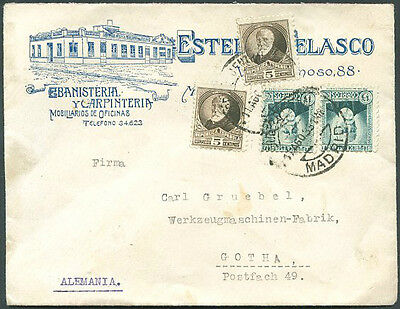 SPAIN TO GERMANY Cover w/Advertising 1933 VF
