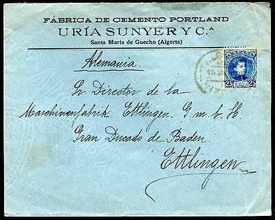 SPAIN TO GERMANY STA. MARIA GUECHO Cancel on Cover 1903 w/Advertising & Weal VF