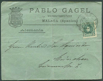 SPAIN TO GERMANY MALAGA Cancel Cover w/Advertising VF