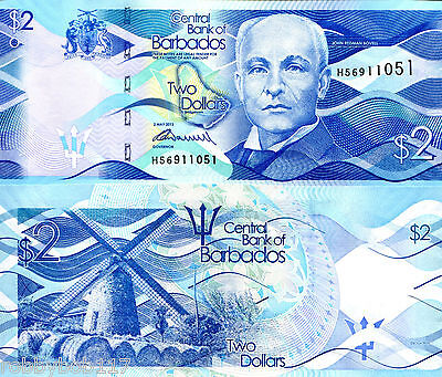 BARBADOS $2 Banknote World Paper Money UNC Currency Pick p73 John Redman Bovell