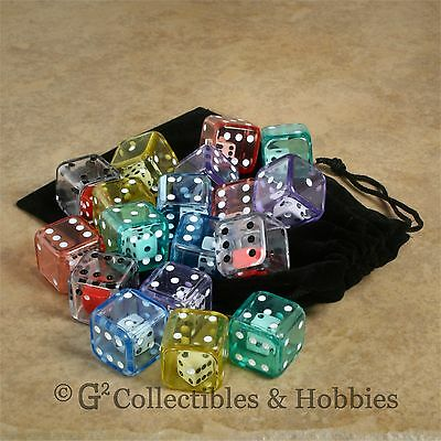 NEW 18 DOUBLE DICE Six Sided D6 + Bag Set Game RPG Math