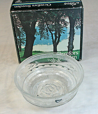 1960's Orrefors Sweden Alice Dinnerware Glass Bowl with Box Eva Englund Design