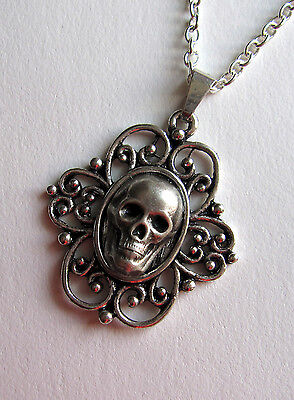 GOTH victorian Steampunk Silver Filigree SKULL Skeleton CAMEO necklace/PENDANT