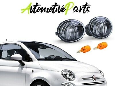 Set 2 Frecce Indicatori Laterali Crystal Fume Fiat 500 + 500L + Abarth Plug&play