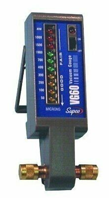 Supco VG60 Electronic Vacuum Gauge, 50 to 5,000 micron, LED Display