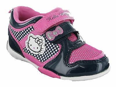 Hello Kitty Dahlia Velcro Trainers Girls Kids Infants Pink Navy Shoes UK6-12