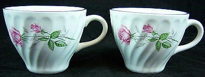 ( 2 )Homer Laughlin Swirled HLC3656 Rose Cups-Rose Pattern-Several available.