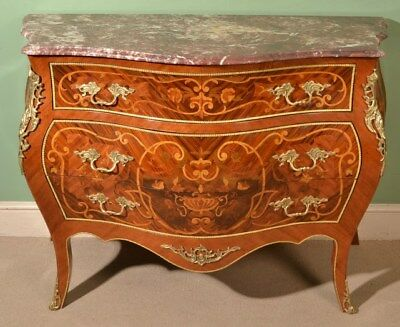 Louis XV Marble Topped Marquetry Commode Chest