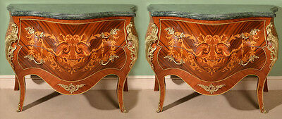 Pair Louis XV Marble Topped Marquetry Commodes