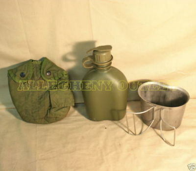 NEW STAINLESS CANTEEN CUP & USED USGI 1 QUART OD COVER & 1QT CANTEEN w/ NBC CAP