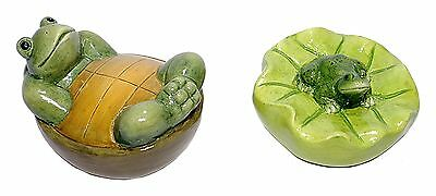 Ceramic Floating Green Frog Turtle Pond Garden Yard Decor Set/2  NEW Lot T5397
