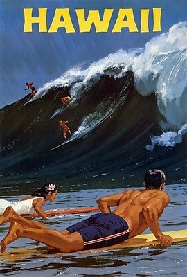 TX237 Vintage 1950's Hawaii surfing Travel Poster Re-Print A1/A2/A3/A4