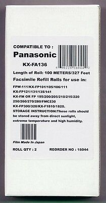 2-pack of KX-FA136 Fax Refills for Panasonic KX-FP220 KX-FP230 KX-FP245 KX-FP250
