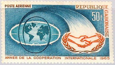 GABON GABUN 1965 216 C29 Intl. Cooperation Year World Map ICY Emblem Karte MNH