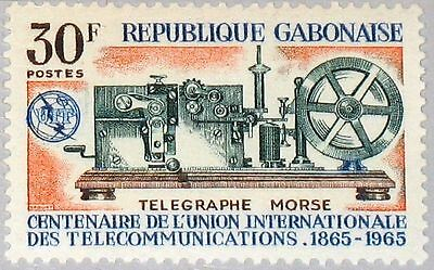 GABON GABUN 1965 221 180 Cent. of ITU Morse Telegraph Fernmeldeunion MNH