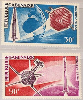 GABON GABUN 1966 244-45 C43-44 French Achievements Space Weltraum Satellite MNH