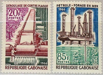 GABON GABUN 1966 251-52 197-8 Economic Development Timber Industry Industrie MNH